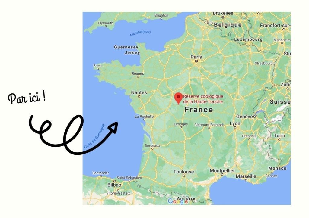 google maps réserve zoologique de la haute-touche